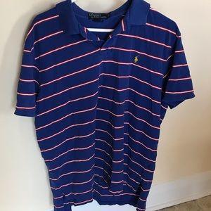 RALPH LAUREN Men's Polo Shirt 2XL White/Blue AA48